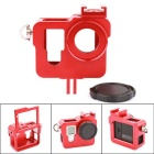 PANNOVO CNC Aluminum Alloy Frame Protective Case w/ Lens Cover for GoPro Hero 4 HD Camera - Red