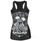 Women's Skull Pattern Nylon + Spandex Vest Top - White + Black