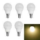JIAWEN E14 3W LED Globe Bulbs Warm White 3200K 240lm SMD 3528 - White (AC 220V / 5 PCS)