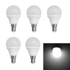 JIAWEN E14 3W LED Globe Bulbs White Light 6500K 240lm SMD 3528 - White (AC 220V / 5 PCS)