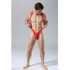 Men's V-Strap PU Leather Lingerie Thong Underpants - Red (L)