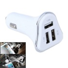 4.1A 3-Port USB Universal Quick Plating Edge Car Charger Adapter - Silver + White (12~24V)