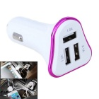 4.1A 3-Port USB Universal Plating Edge Quick Car Charger Adapter - Purple + White (12~24V)