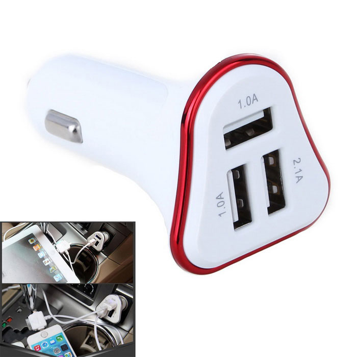 4.1A 3-Port USB Quick Plating Edge Car Charger Adapter - Red + White
