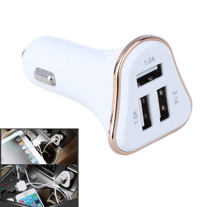 4.1A 3-Port USB Quick Plating Edge Car Charger Adapter - Gold + White