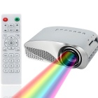 GP8S 32W LCD HD Home Mini Projector w/ TV, VGA, USB 2.0, AV, SD, Dual HDMI - Silver + White