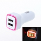 Luminous Aperture Design 3.1A Dual-Port USB Universal Quick Car Charger Adapter - Deep Pink (12~24V)
