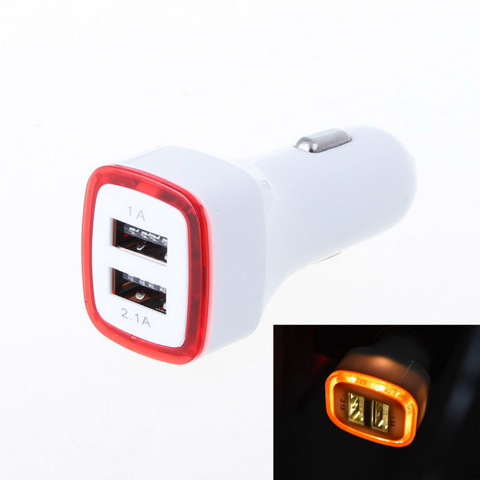 Luminous 3.1A 2-Port USB Quick Car Charger Adapter - Red + White