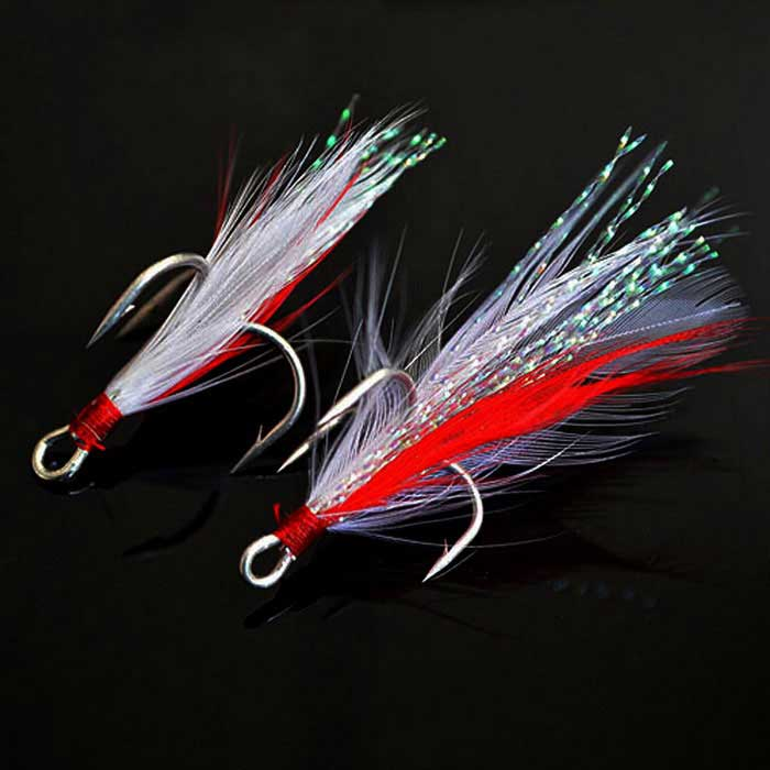 Fishing Hook Barb No. 4 Anchor Feather Hooks - White + Red (2PCS)