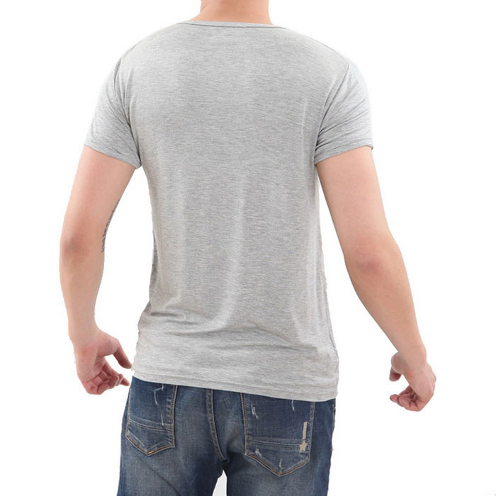Men 39 s cotton spandex v neck slim fit t shirt grey 3xl for Cotton and elastane t shirts