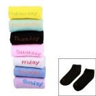 English Days of the Week Socks for Female - Black + Multicolor (7-Pair Pack)