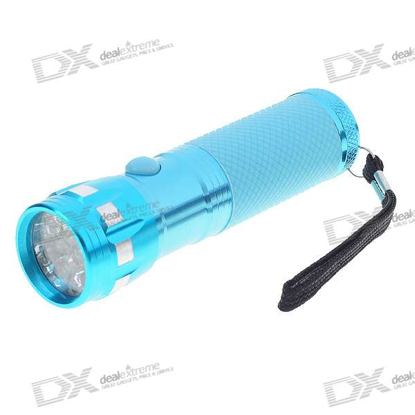 Stylish 14-LED 15000mcd White Light Flashlight with Rubber Handle (Color Assorted/3*AAA)