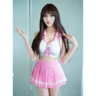 V-Neck Student Uniform Top + Skirt Lingerie Outfits - Pink + White