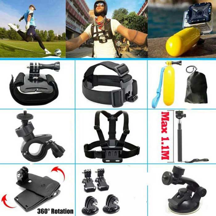 13-in-1 Camera Accessories Kit for GoPro, SJ5000, SJCam, Xiaoyi