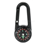 Outdoor Mountaineering Climbing Zinc Alloy Bukcle Carabiner Keychain w/ Compass - Black