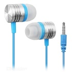 3.5mm Plug Wired In-Ear Earphone w/ Remote / Mic + Clip - Light Blue + Silver