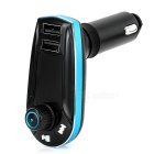 Car MP3 Music Player FM Modulator w/ TF Slot / 2-Port USB 2.0 / 3.5mm Audio Cable - Black + Blue
