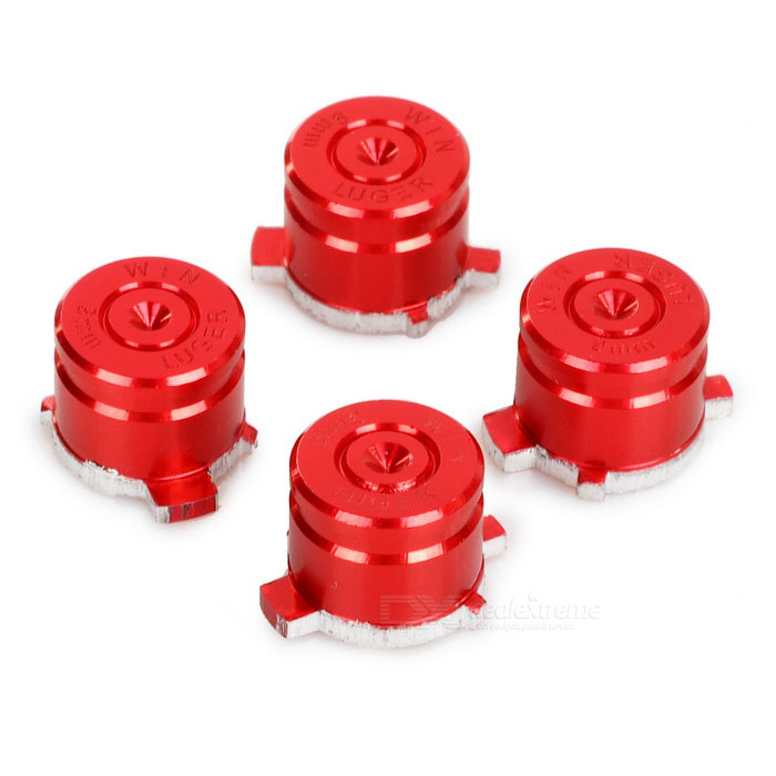 4-in-1 Universal Aluminum Buttons Keys for PS3 / PS4 / PS3 Slim - Red