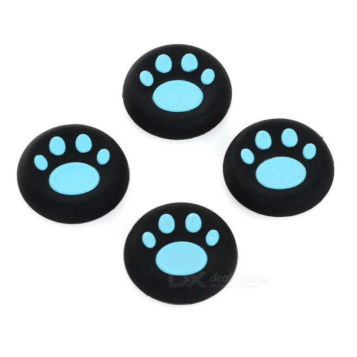 Cat's Claw Print Controller Thumbstick Cap Cover for PS4 - Blue(4PCS)