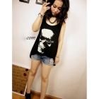 Stylish Skull Pattern Casual Women Modal Sleeveless T-Shirt - Black