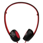 Mrice E500 Honeycomb Head-mounted Headband Folding Design Stereo Headphones w/ Mic - Black + Red