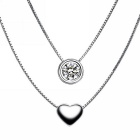 eQute PSIW42C1 S925 Sterling Silver Rhinestone-studded Heart-shaped Pendant Necklace - Silver