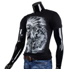 Fashionable Cool Casual Indian + Wolves Pattern Round-Neck Short-Sleeve Cotton T-Shirt - Black (L)