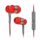 Kanen ip-818 Wired 3.5mm Jack Plug Metal In-Ear Stereo Earphones w/ Microphone - Red + Grey