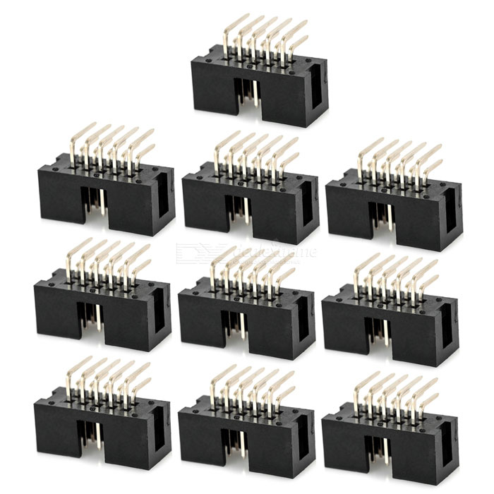 2.54mm Pitch Single Row 10Pin Curved Pin Header Set - Black (10PCS)