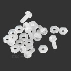 Nylon M2 Srews + Nuts Set for R/C Toys - White (20PCS)