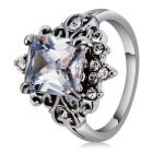 Elegant Pattern Crystal Finger Ring - Silver (US 8)