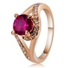 Stylish Women's Crystal + Alloy Ring - Rose Golden (US Size 8)