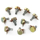 B50K 15mm Short Shaft 3Pin Monotroded Potentiometers - Silver (10PCS)