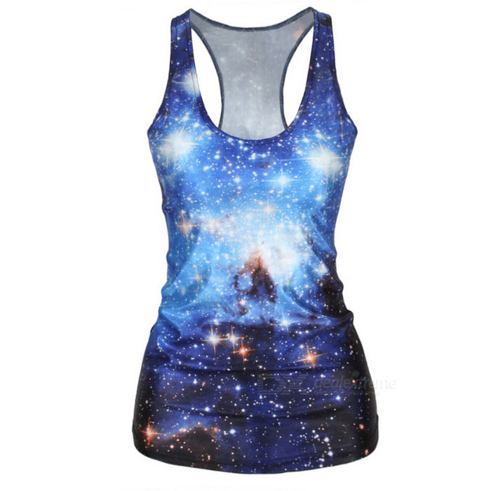 Women's Sexy Starry Sky Printing Spandex Vest Top - Blue