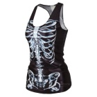 Women's Sexy Skeleton Pattern Nylon + Spandex Vest Top - Black + White
