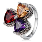 Women's Stylish Fan Shaped Alloy + Crystal Ring - Silver (US Size: 8)