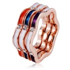 Xinguang Simple Three-Circle Crystals Inlaid Ring - Rose Golden (US Size 8)