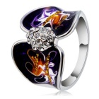 Women's Unique Art Oil Painting Style Alloy + Crystal Ring - Silver (US Size: 8)