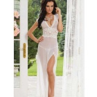 Sexy Translucent Spitzehalter-Side Slit Skirt Dessous - White (M)