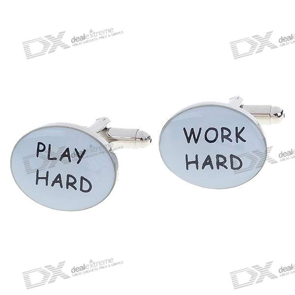 WORK HARD + PLAY HARD Pattern Cuff Links/Buttons (Pair)