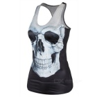 Women's Skull Pattern Slim Nylon + Spandex Vest Top - Black + White