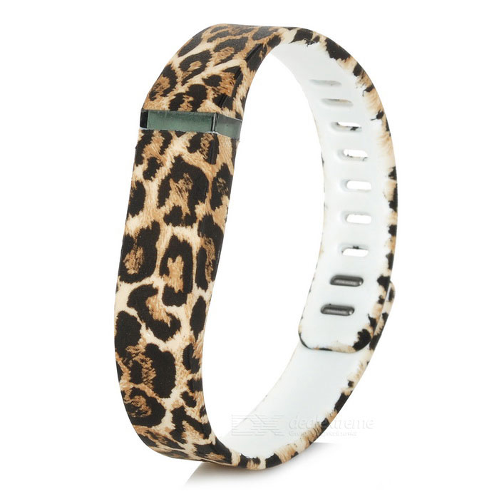 Leopard Print Large Sports Wrist Band w/ Clasp for Fitbit Flex