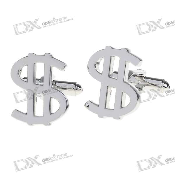 Dollar Sign Shaped Cuff Links/Buttons (Pair)
