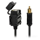 Universal 2.1A Output Dual-USB Car Power Charger Adapter for Cellphones & Tablets - Black