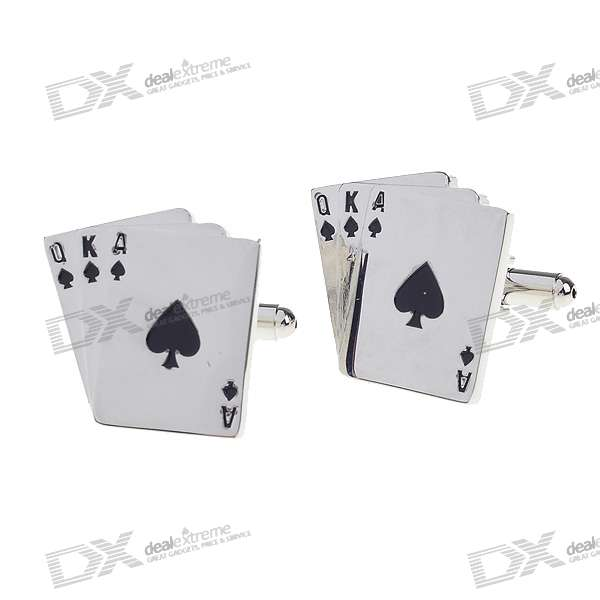 QKA Poker Shaped Cuff Links/Buttons (Pair)