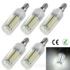 E14 8W LED Corn Lamps White 6500K 1200lm 48-SMD 5050 (AC 220V / 5PCS)