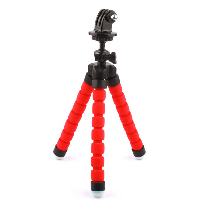 PANNOVO 360' Rotary Sponge Tripod for GoPro,SJ6000, Xiaoyi - Red