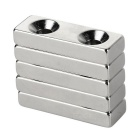 30*10*5mm Square NdFeB Magnet w/ 4mm Holes - Silver (5PCS)