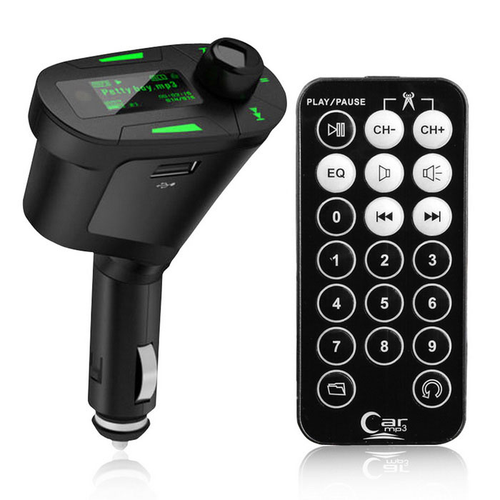 Portable 360 Degrees Rotating Green LCD Car Kit MP3 Player - BlackFM Transmitters and Players<br>Form ColorBlackModelN/AQuantity1 DX.PCM.Model.AttributeModel.UnitMaterialPlasticShade Of ColorBlackPower SupplyDC 12~30VPacking List1 x Car MP3 player1 x Remote control (1 x CR2032 battery, included)1 x Audio cable (50+/-2cm)1 x Fuse<br>