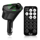 Portable 360 Degrees Rotating Green LCD Car Kit MP3 Player - Black
